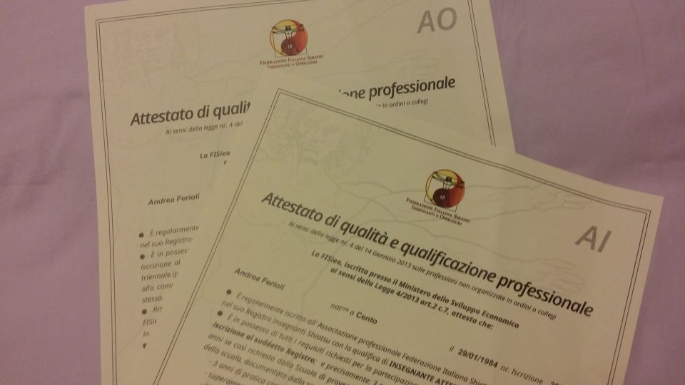 Certificazione operatore Shiatsu Andrea Ferioli FISIeO